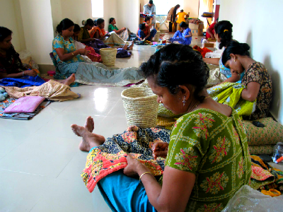 Basha women are making kantha scarves