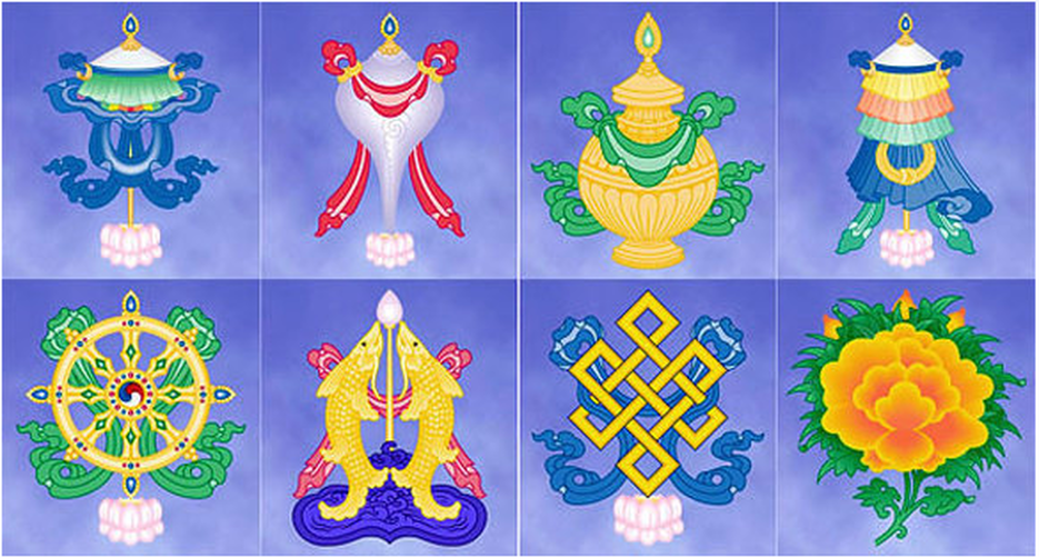 Buddhism the eight lucky symbols