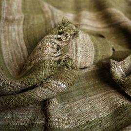 Wild silk scarf in olive green