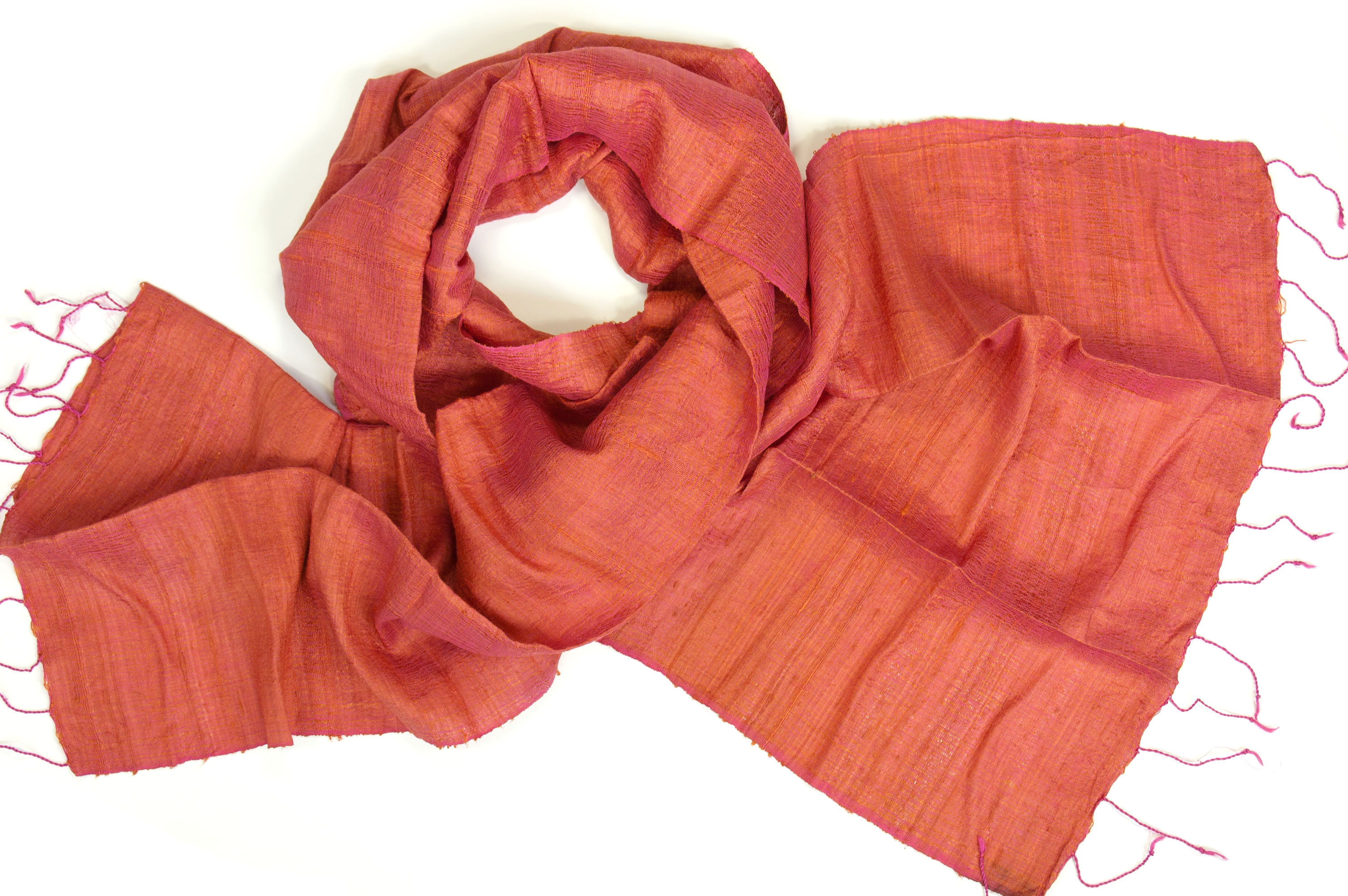 Silk fair trade scarf in orange  Counting Flowers Silk Scarves Orange