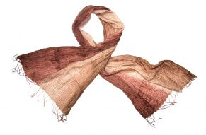 Silk scarf shiny copper