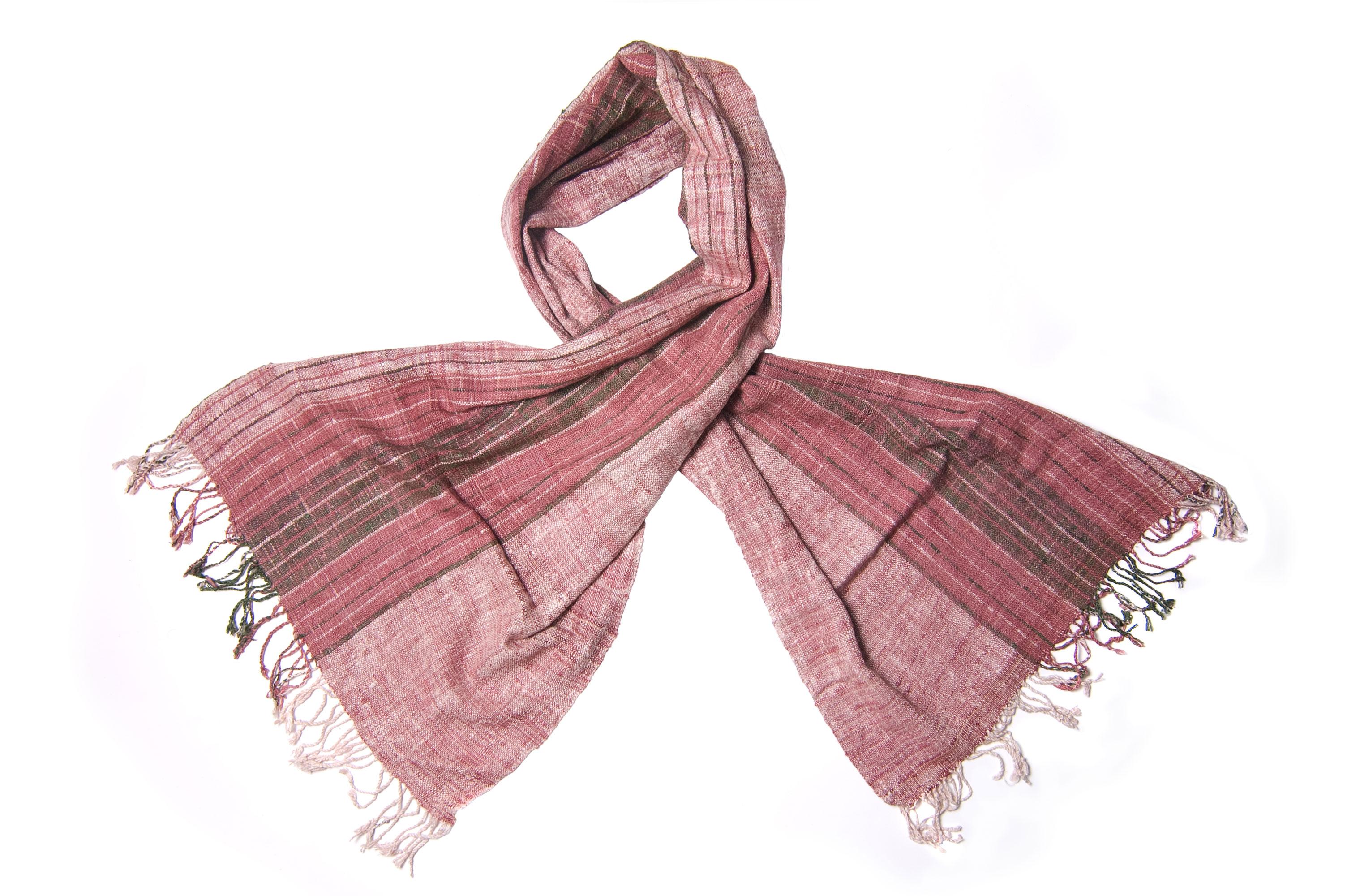 Sjaal van eri zijde in natuur-rood
