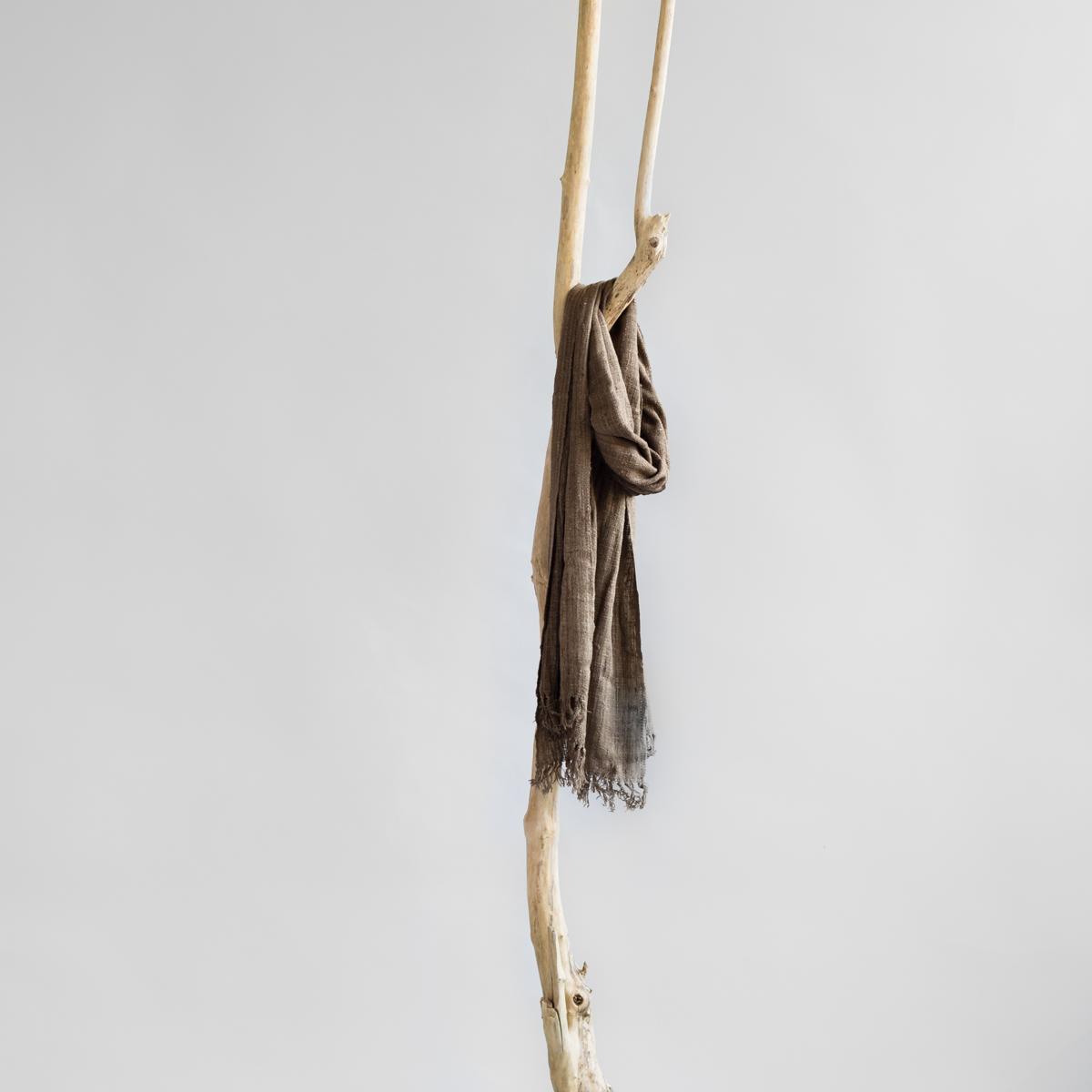 Sjaal van wilde zijde donkerbruin