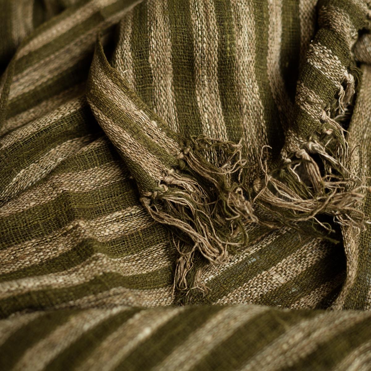 Naturally dyed wild silk scarf zebra