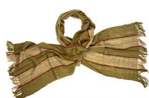 Sjaal van wilde zijde groen-beige-rood