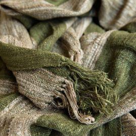 Wild silk shawl in autumn green