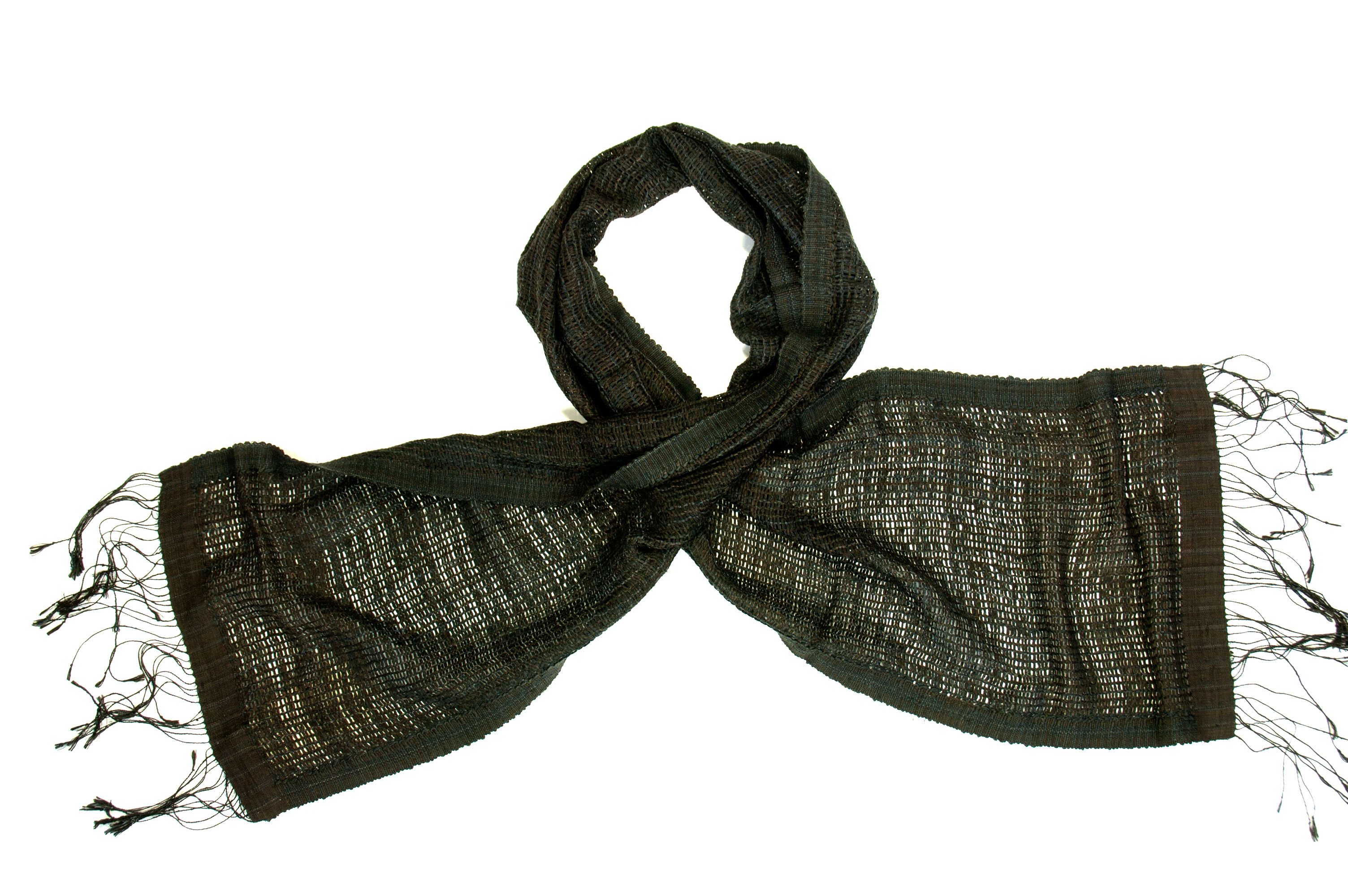 Naturally dyed silk scarf onyx