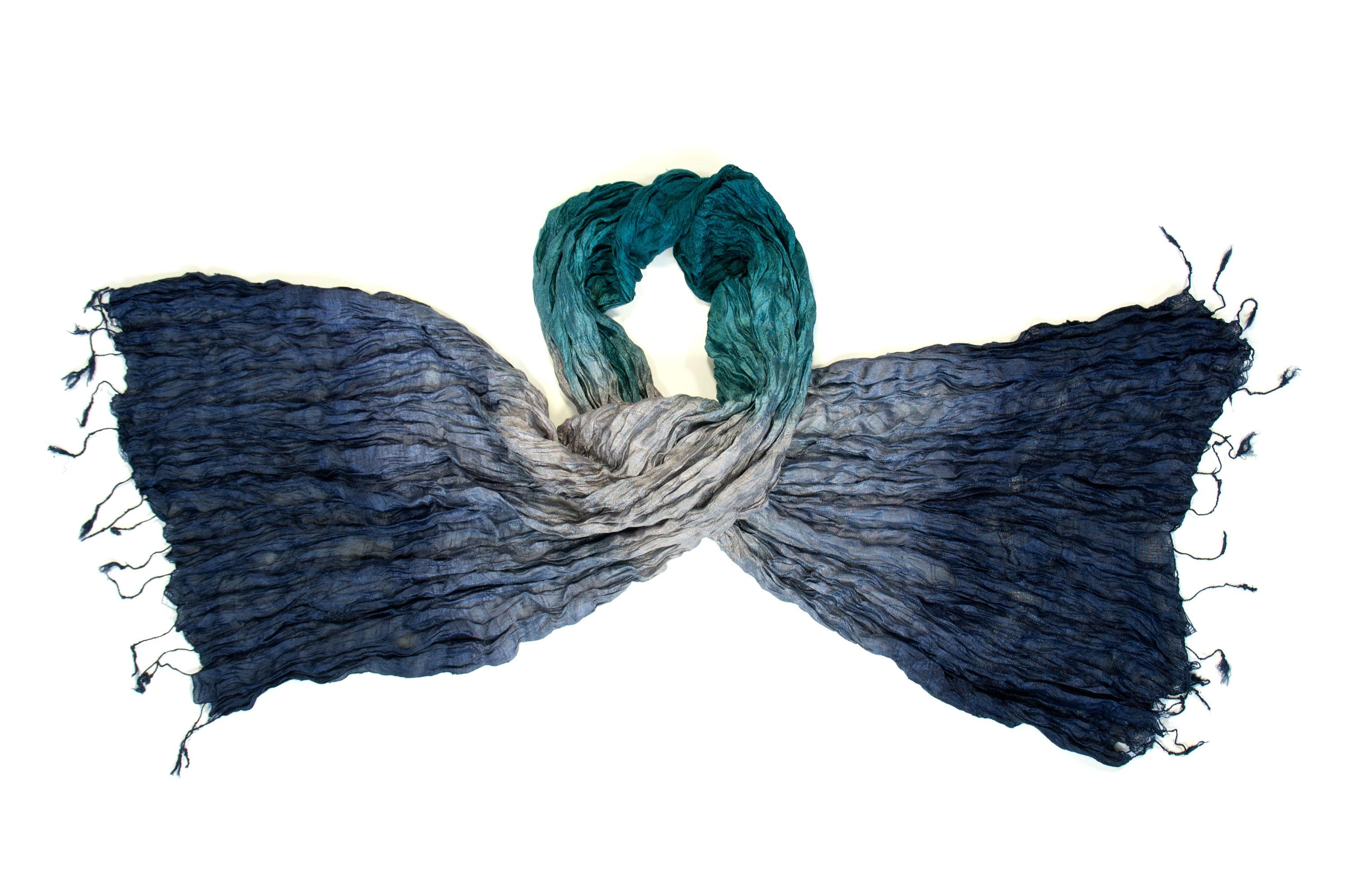 Zijden sjaal in groen grijs blauw - Counting Flowers