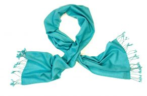 Cashmere scarf turquoise blue