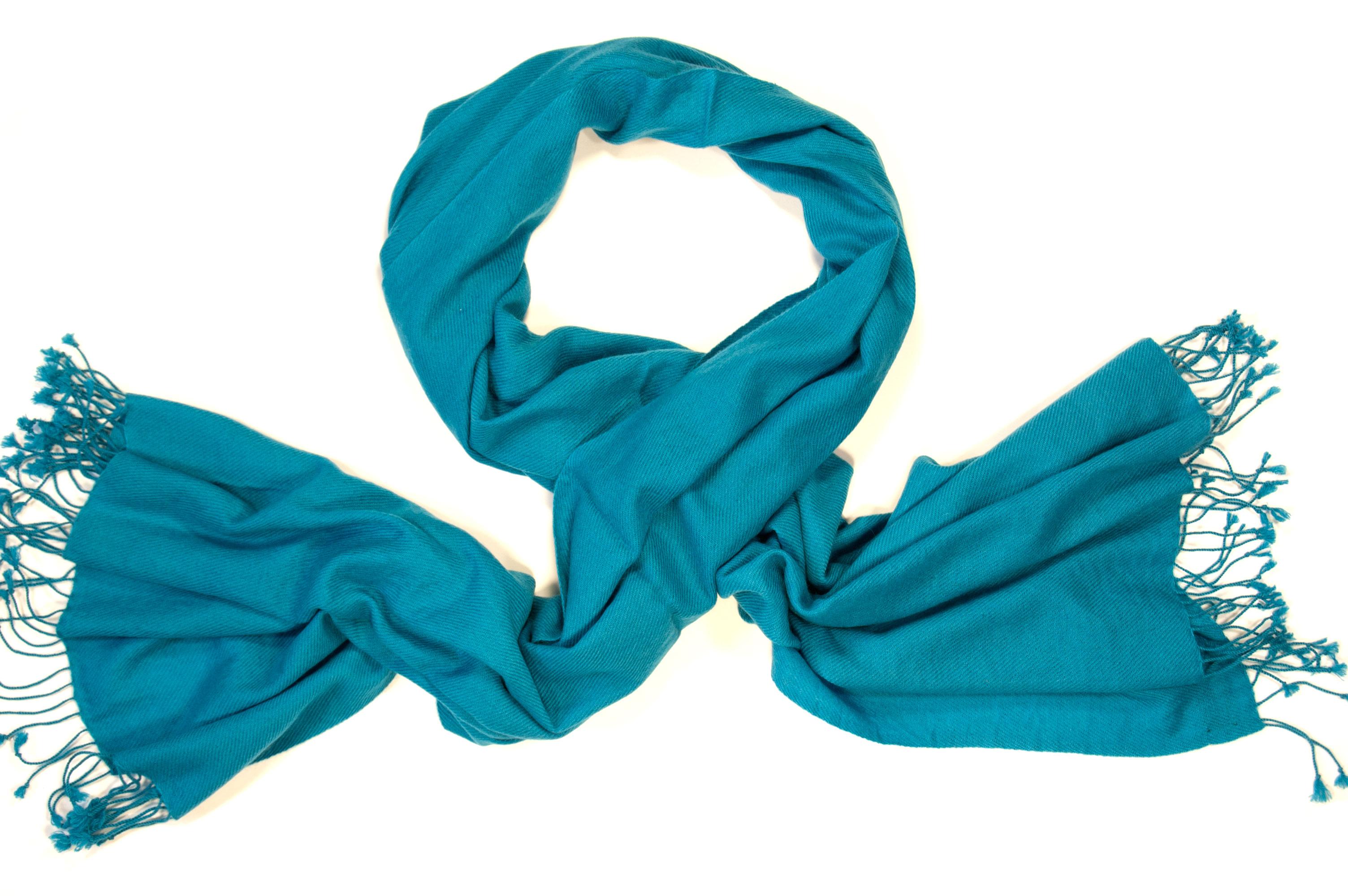 Cashmere sjaal in blauwgroen