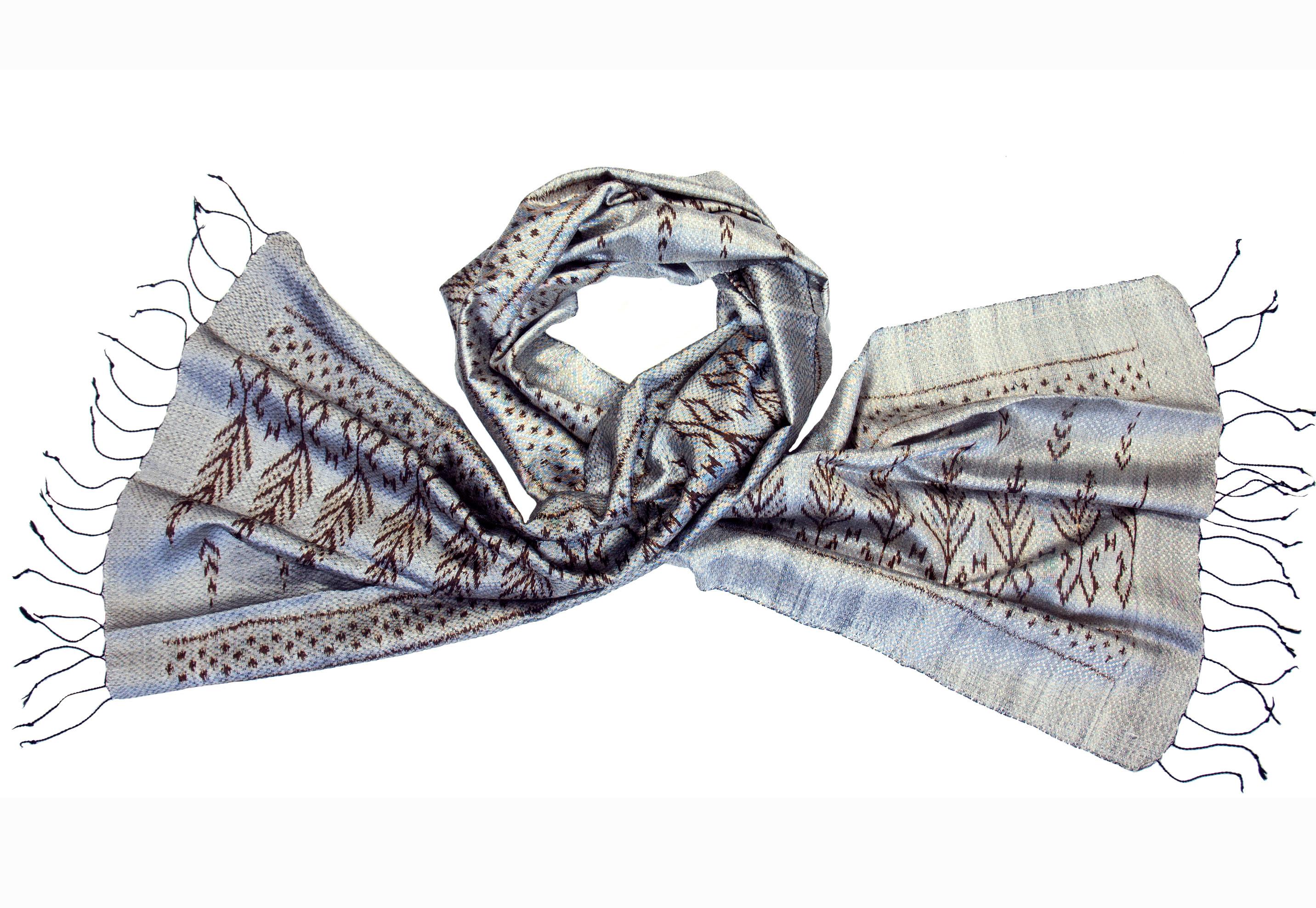 Zijden sjaal ikat zilver