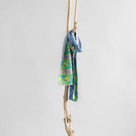 Kantha cotton scarf blue sky