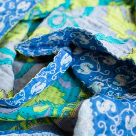 Kantha cotton scarf blue sky