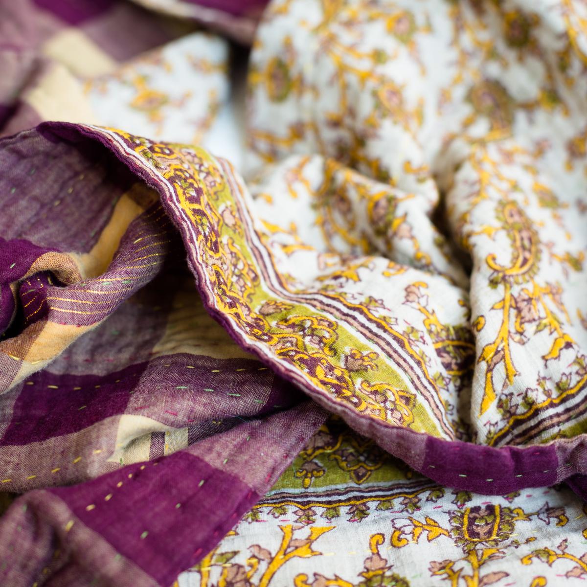 Kantha cotton scarf squarish