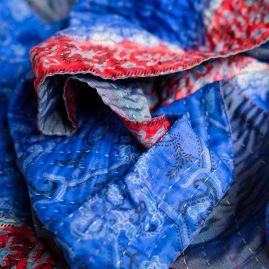 Silk scarf kantha blues