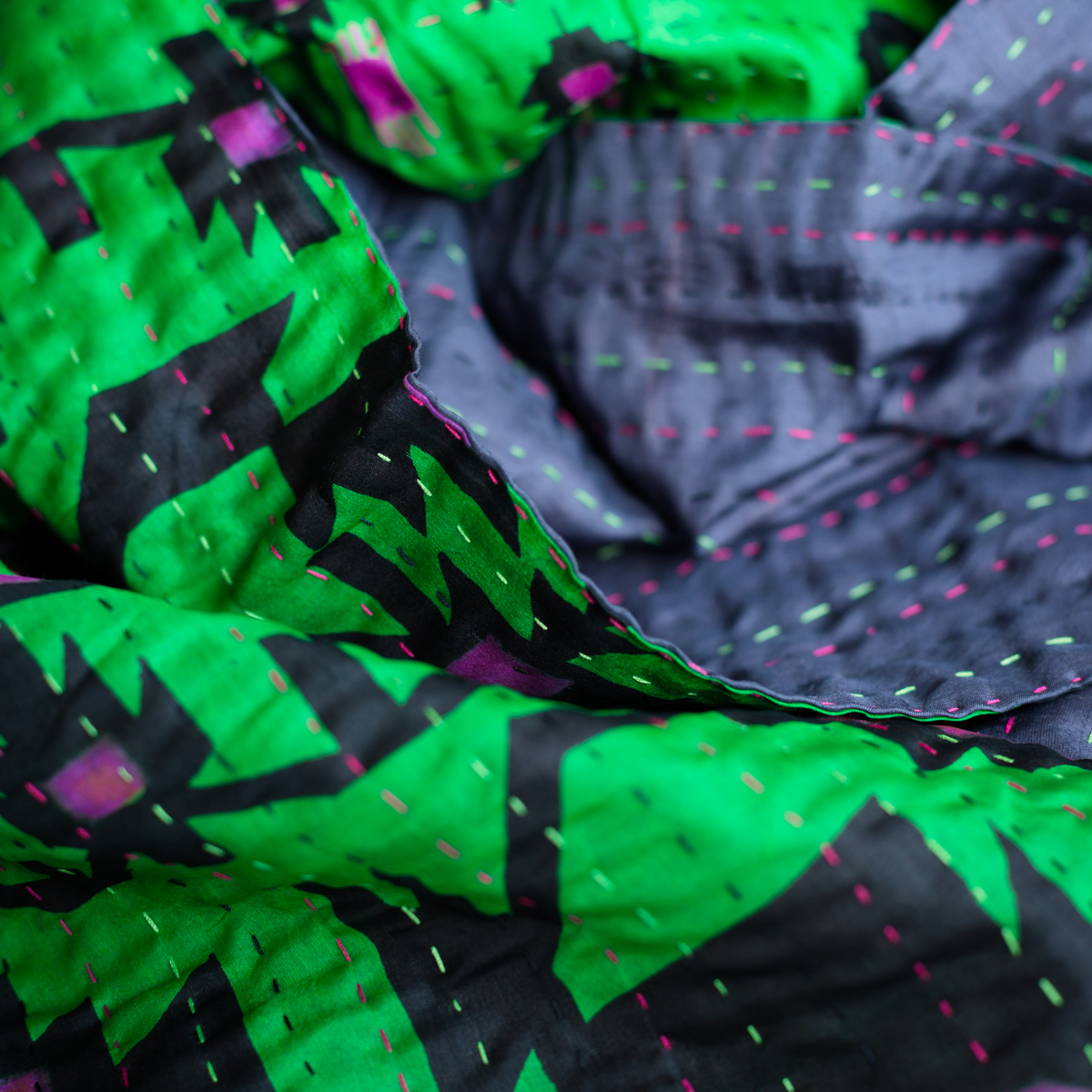 Silk scarf kantha swing