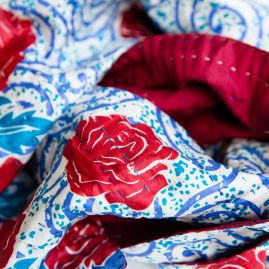 Silk scarf kantha rose