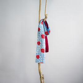 Zijden sjaal kantha roos