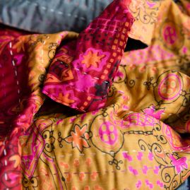 Silk scarf kantha fantasy