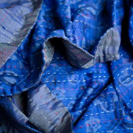 Zijden sjaal kantha blues