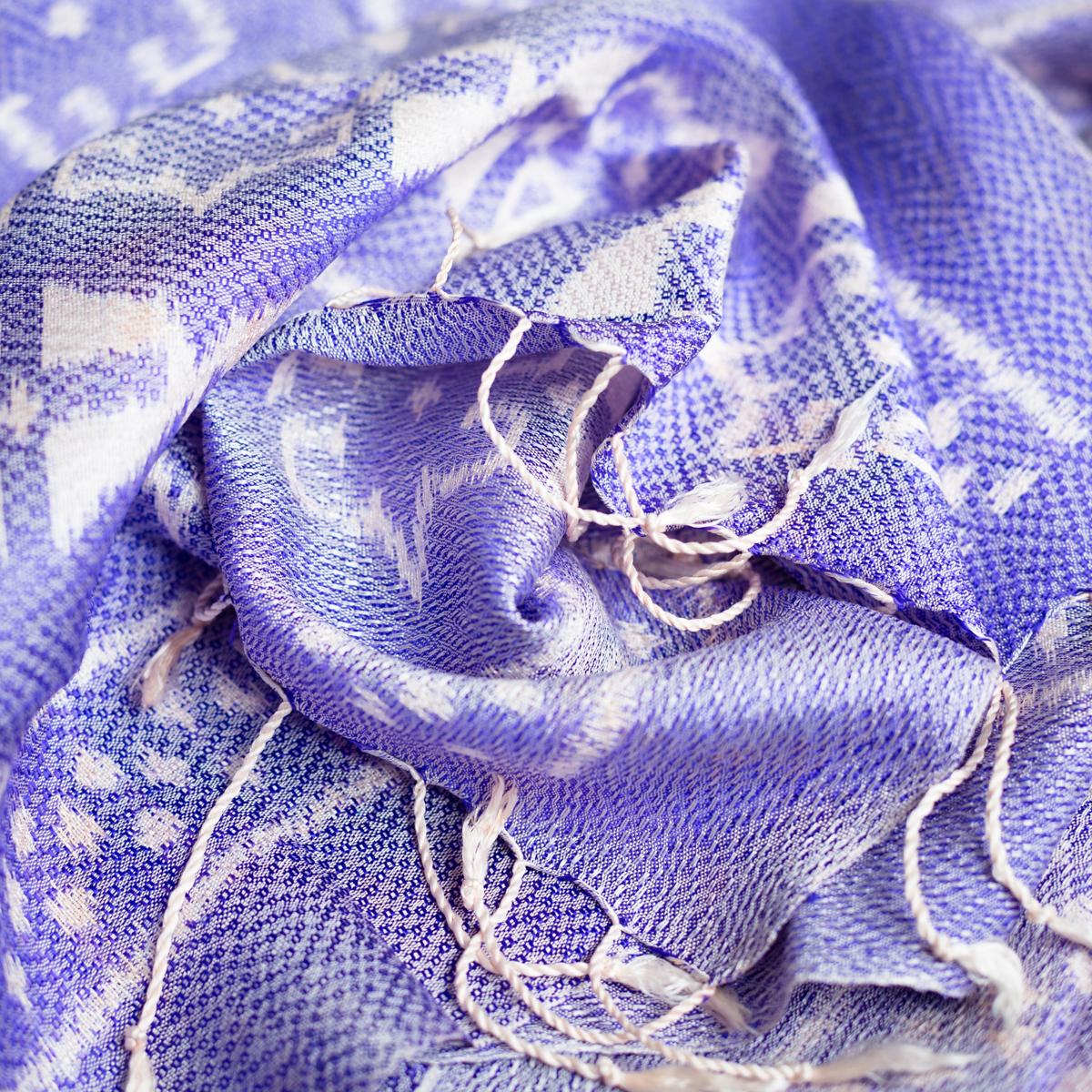 Zijden sjaal ikat lila