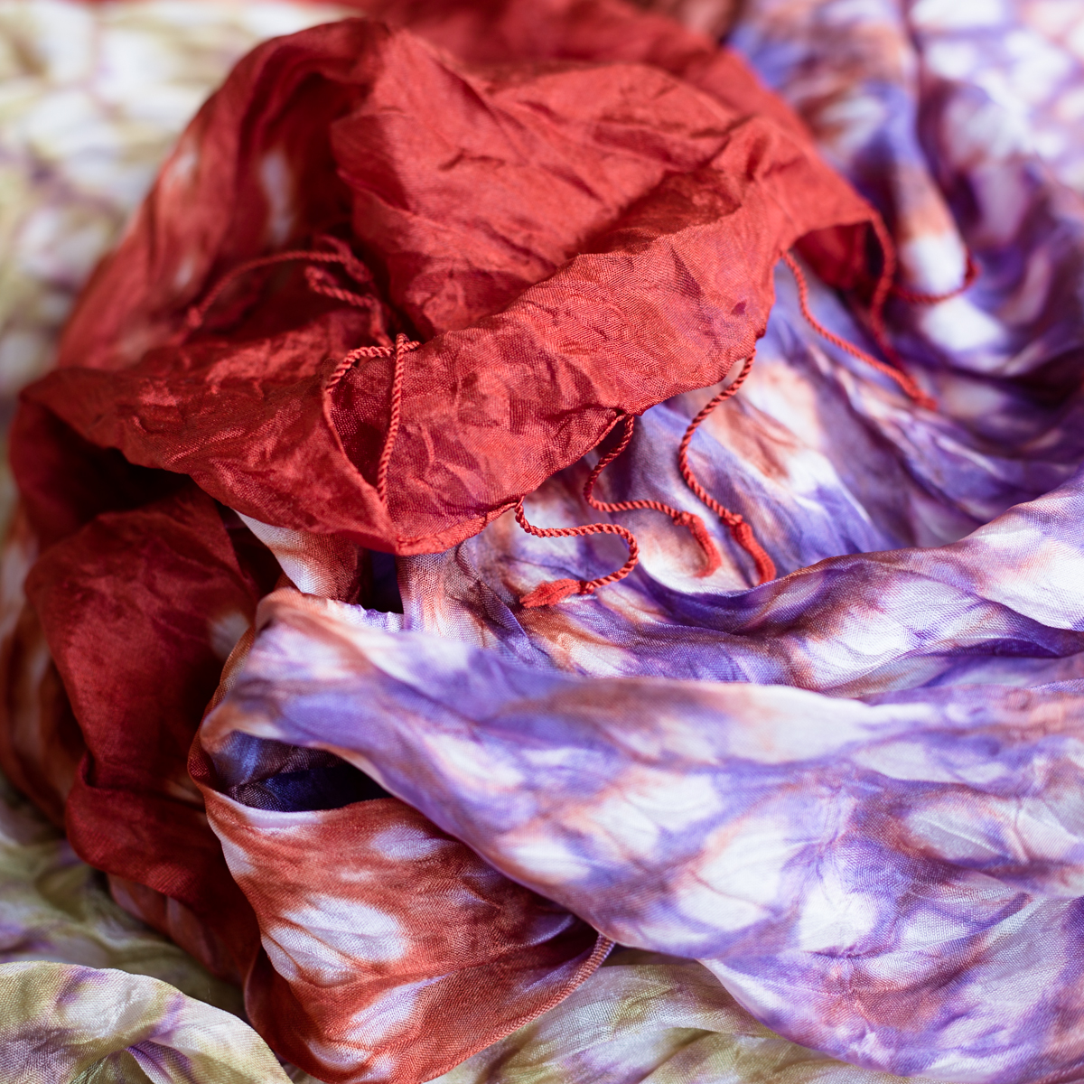 Silk scarf tie-dye burnt orange