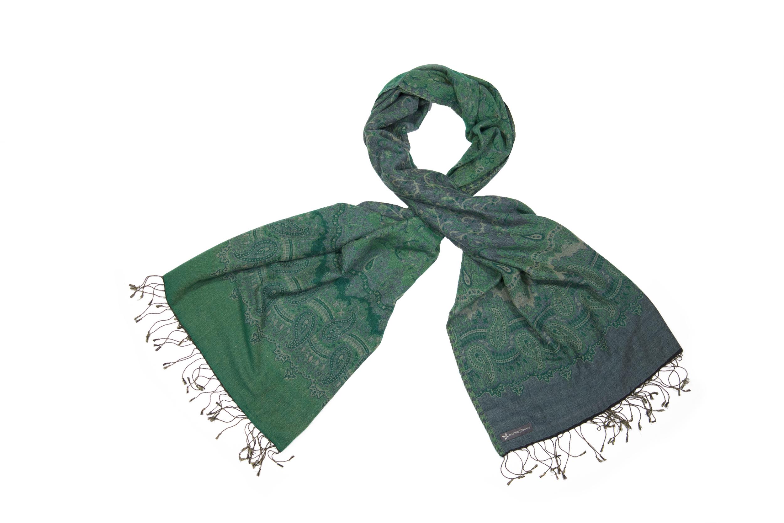 Cashmere stole paisley emerald