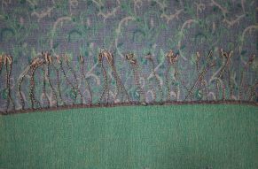 Cashmere sjaal paisley smaragd - close up