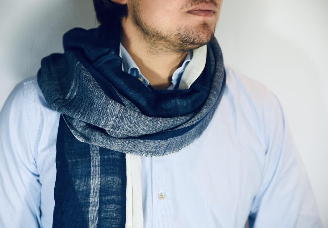 Cotton shawl Zinash navy