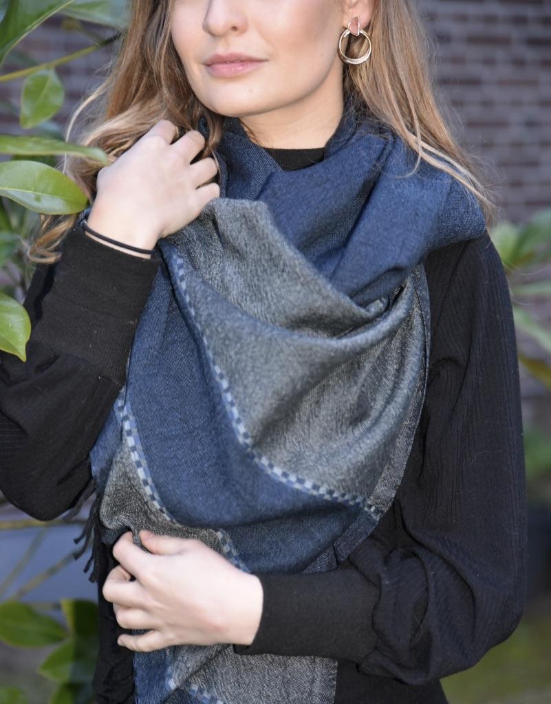 Wollen sjaal Fasil navy/grey