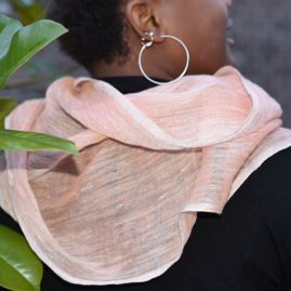 Linen scarf Mariam coral