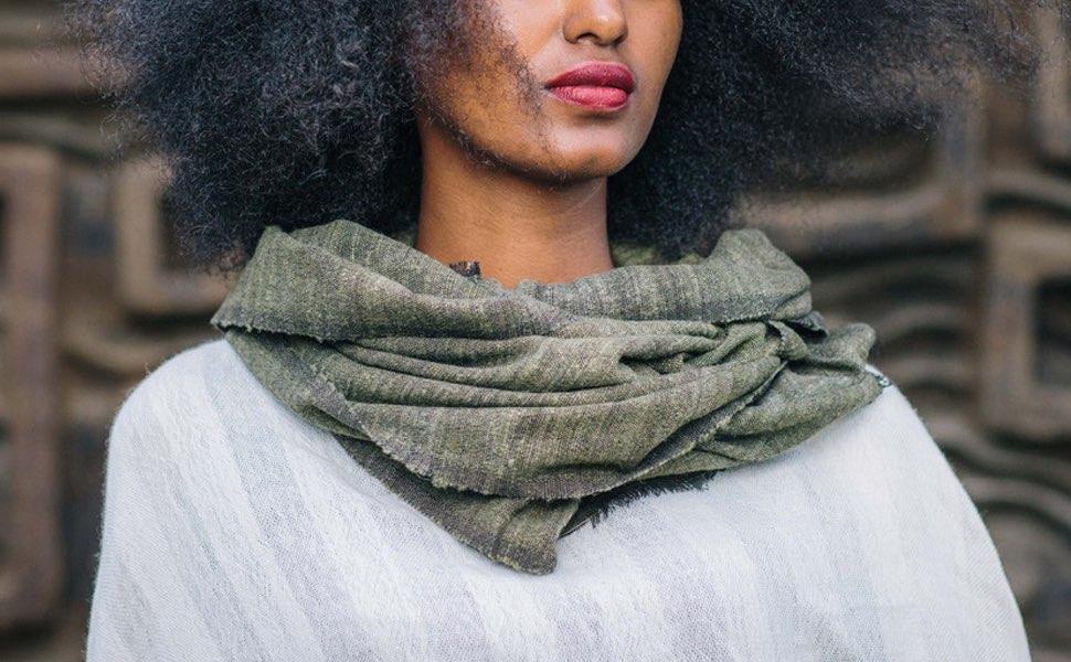 Sjaal van zijde/katoen mix beige