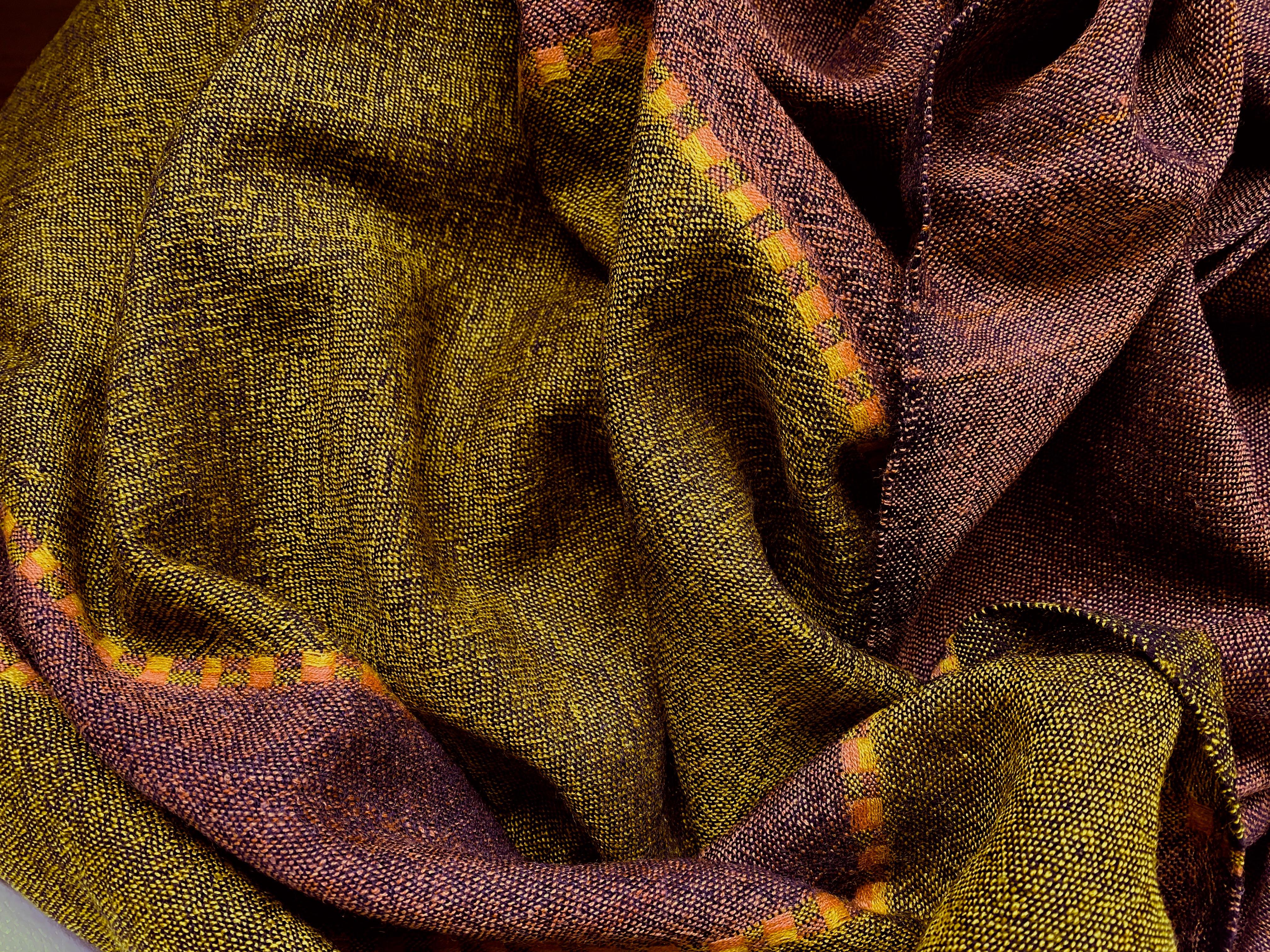 Wollen sjaal Fasil mustard-copper