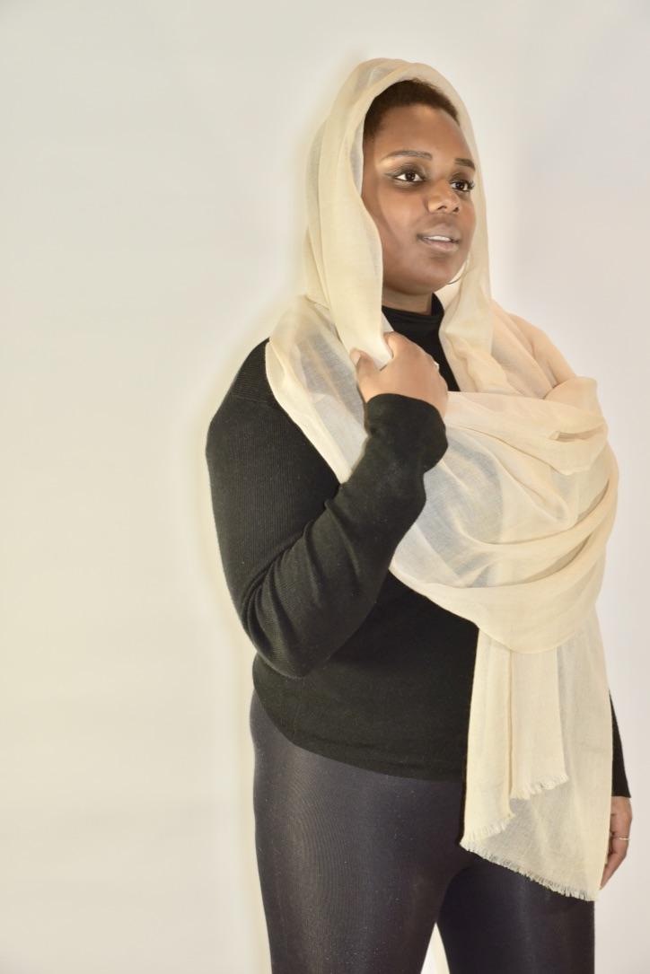 Lightweight cashmere sjaal beige