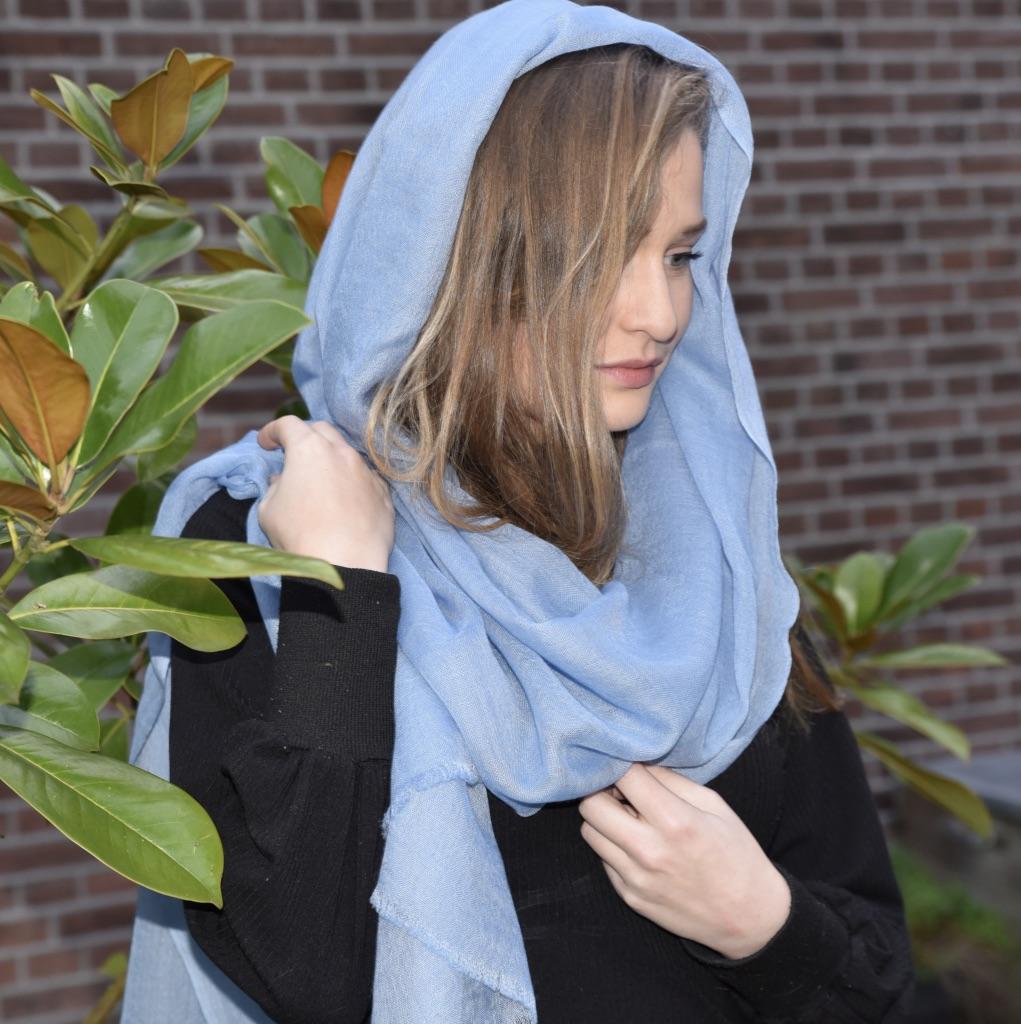 Lightweight cashmere sjaal lichtblauw