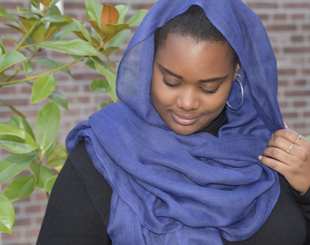 Lightweight cashmere sjaal nachtblauw