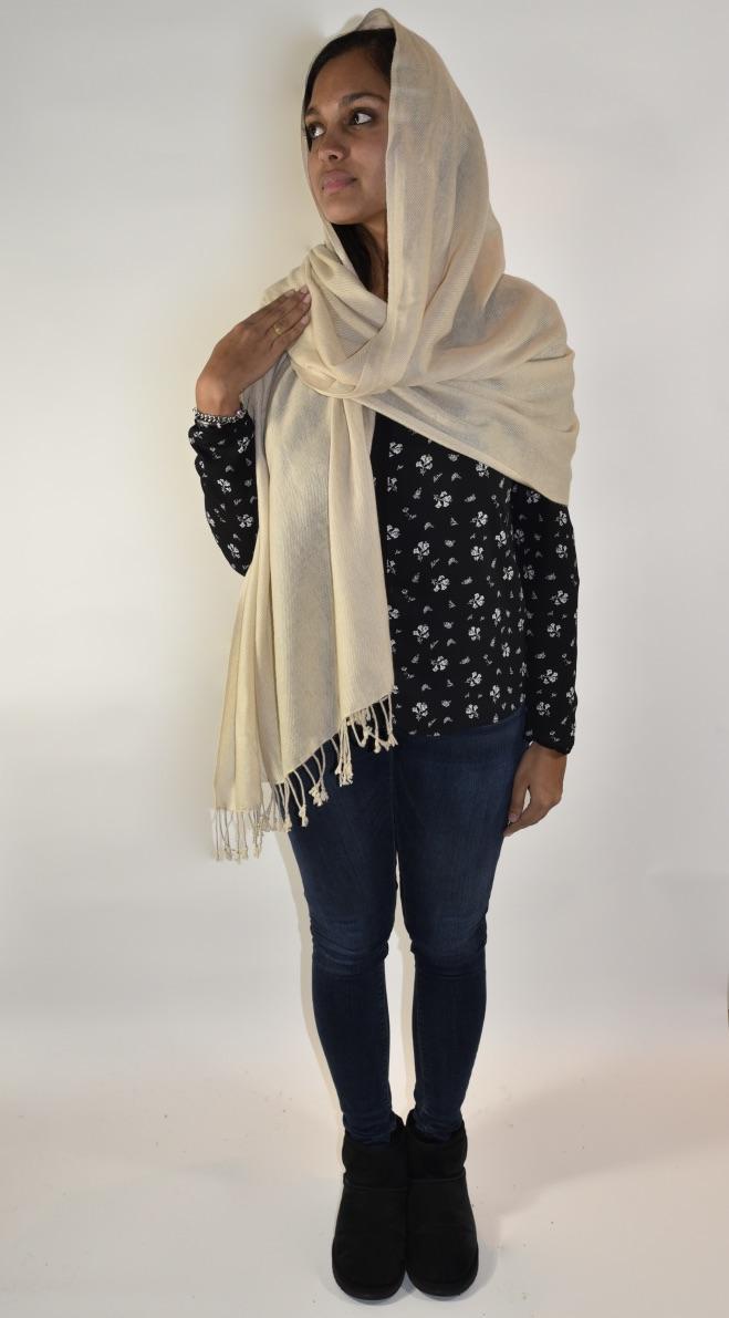 Cashmere stola/sjaal in beige