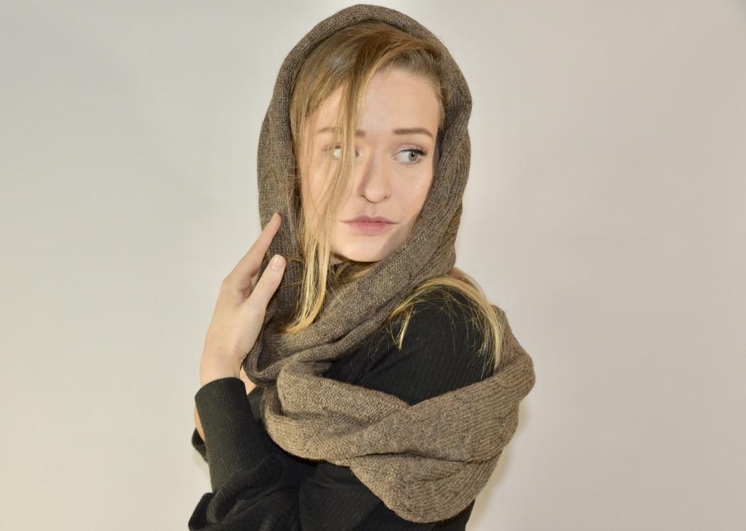 Ronde alpaca sjaal
