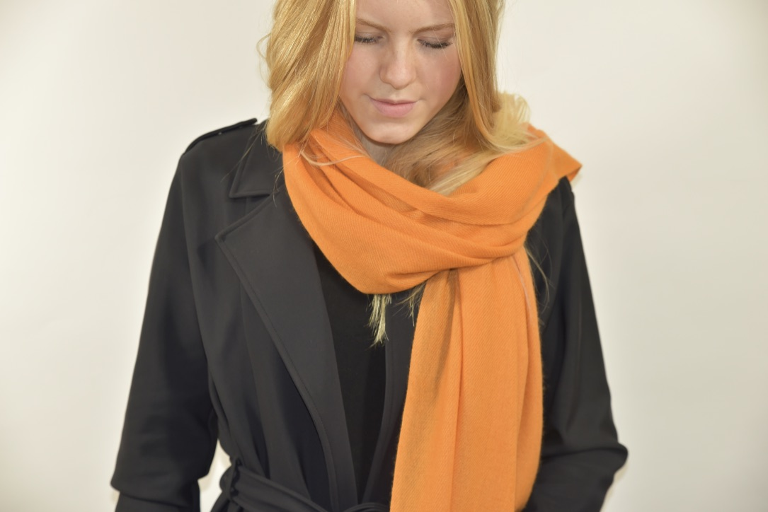 Cashmere stole in warm orange