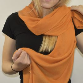 Cashmere stola in warm oranje