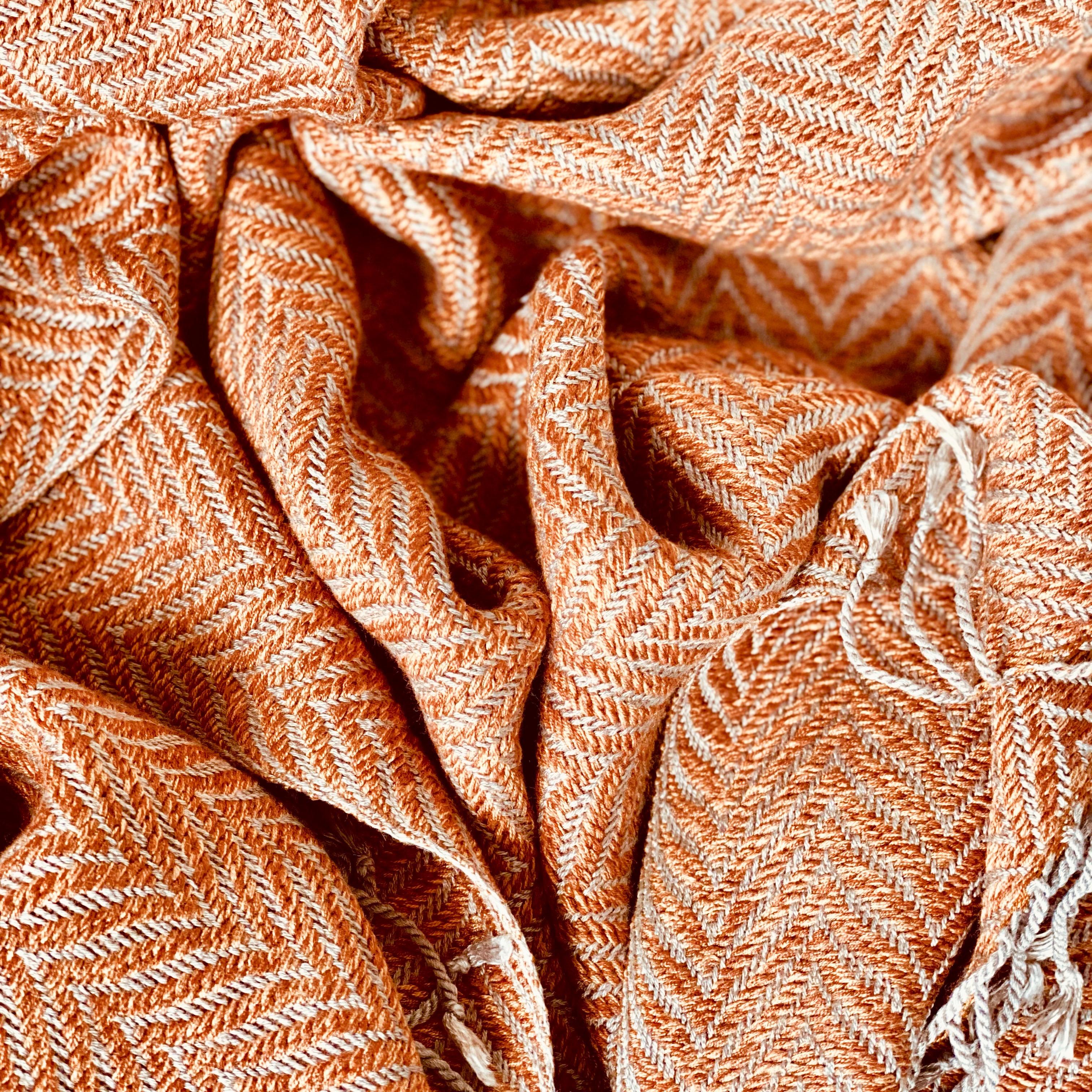 Orange fishbone scarf from Cambodia