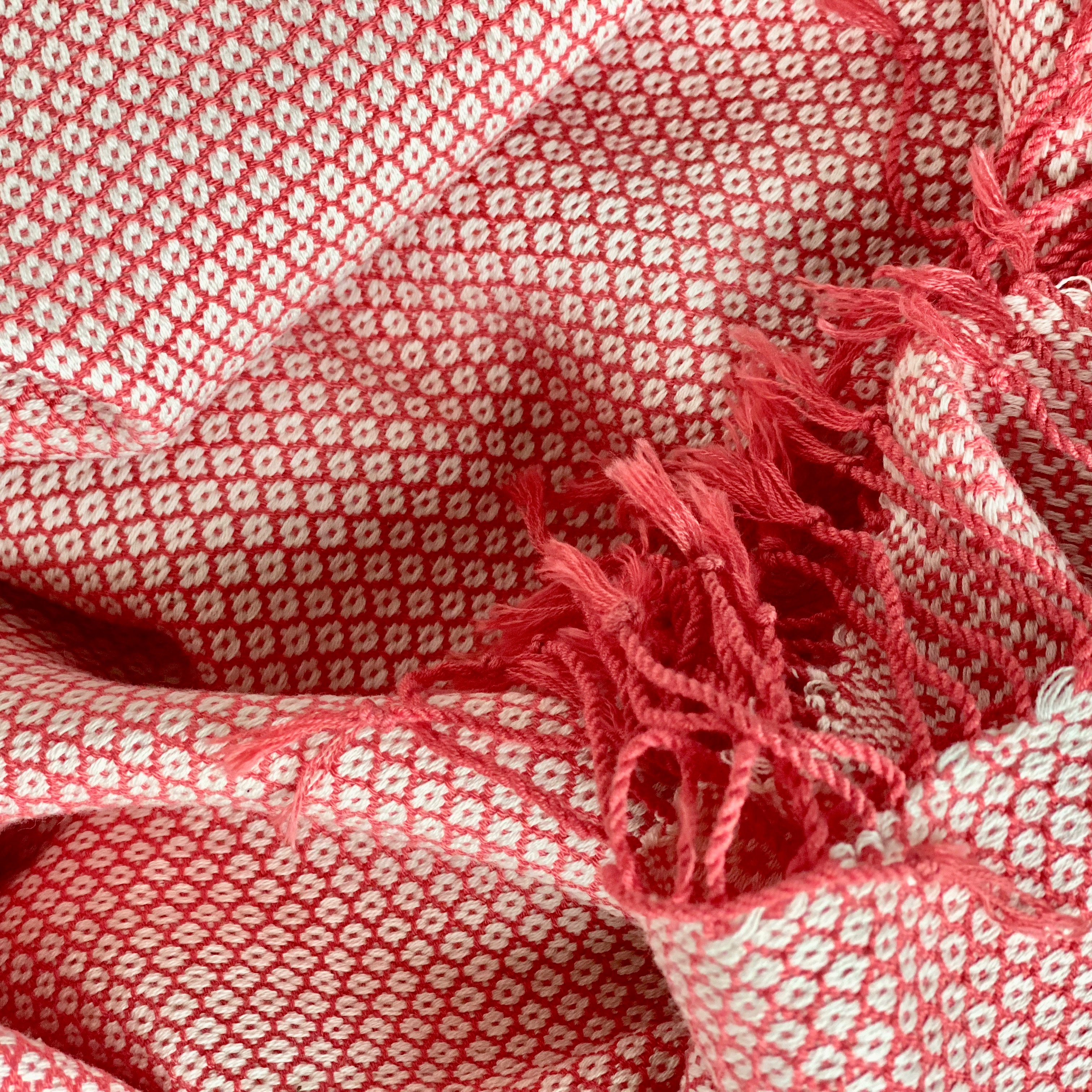 Coral scarf in diamond pattern