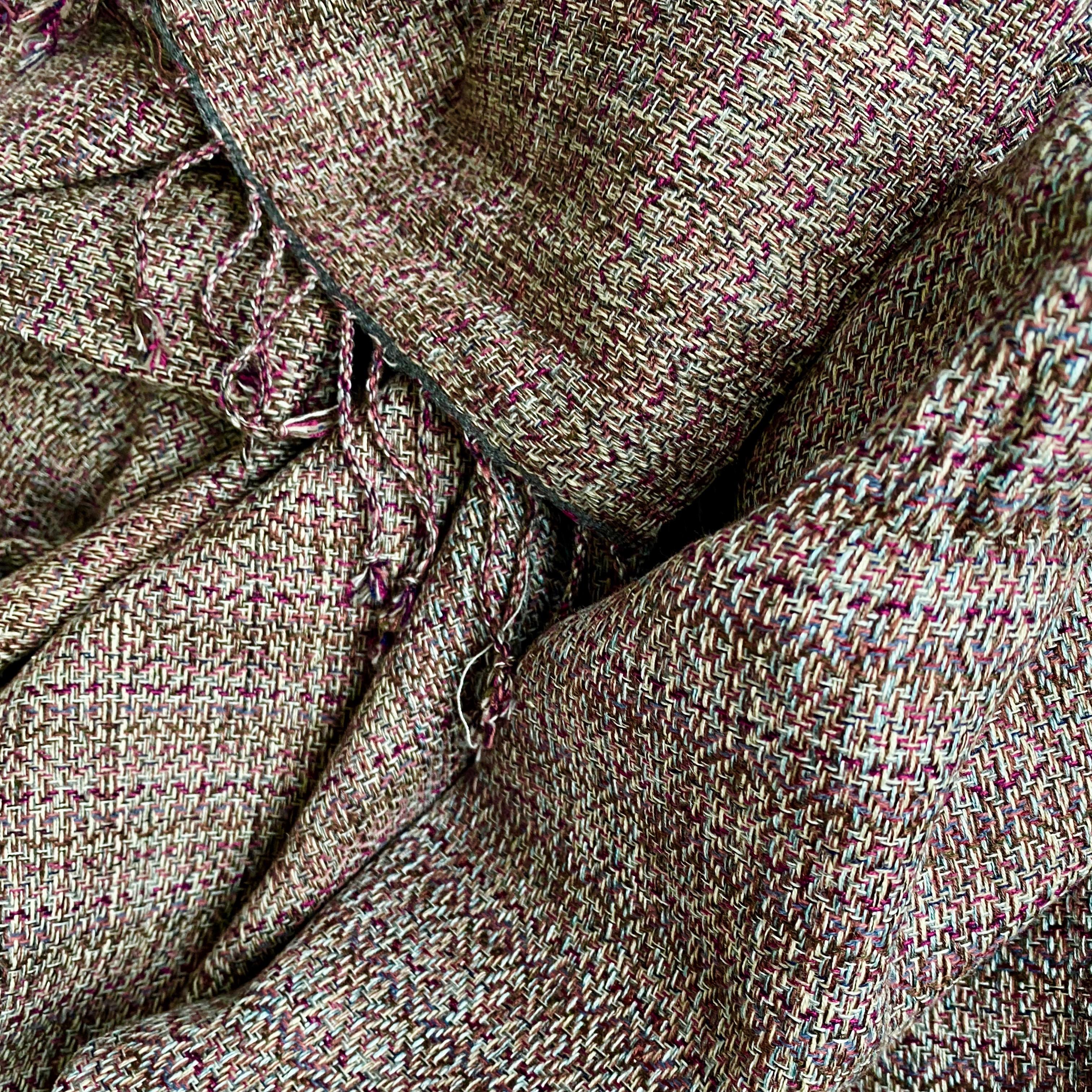All colour sjaal in donkerrood en bruin