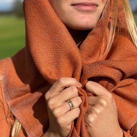 Orange scarf in diamond pattern