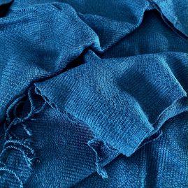 Jeans blue scarf in diamond pattern