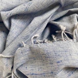Silk/cotton mix scarf in blue