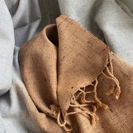 Silk/cotton mix scarf in brown/gray
